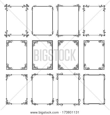 Decorative vintage frames Vector black borders isolated on white - frame for cards