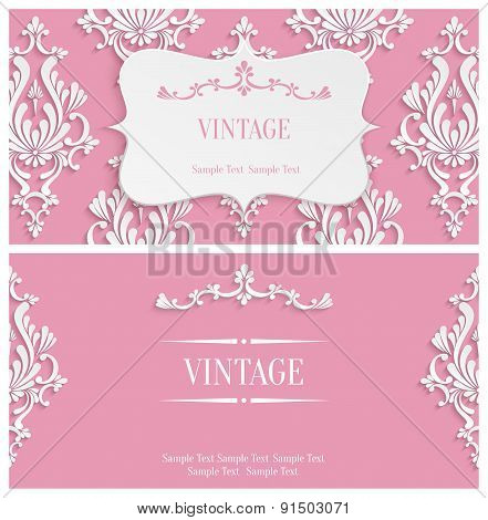 Vector Pink 3d Vintage Invitation Template with Floral Damask - vintage invitation template