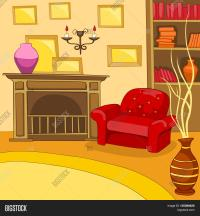 Hand drawn cartoon of living room. Colourful cartoon ...