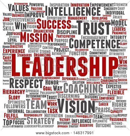 Vector concept conceptual business leadership or management square - words for achievement