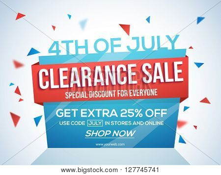 Sale Template, Banner or Flyer for 4th of July Stock Images Page - 4th of july template
