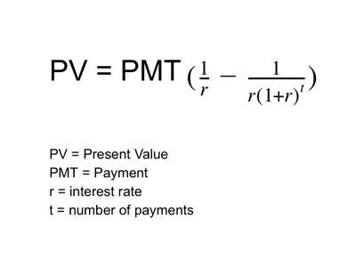 Present value of annuity formula - annuity equation