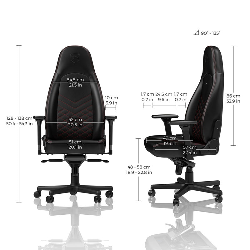 Gaming Sessel Echtleder Noblechairs Icon Gaming Stuhl - Schwarz/rot