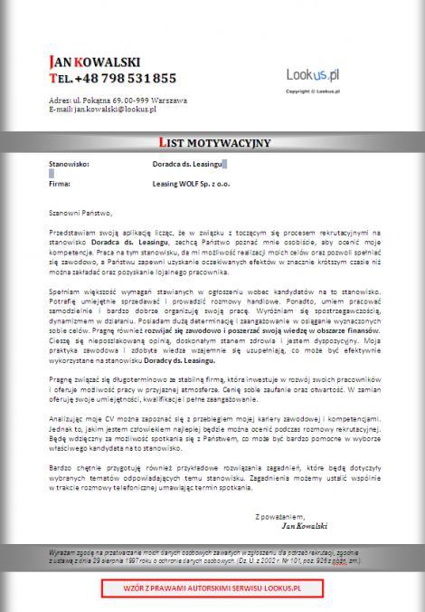 List motywacyjny - Doradca ds leasingu