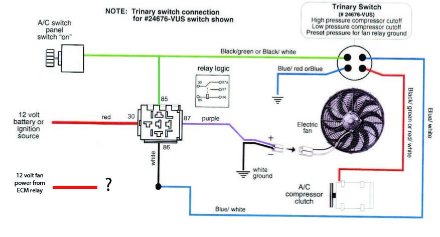 Wiring 2 sources (engine and AC) to one cooling fan
