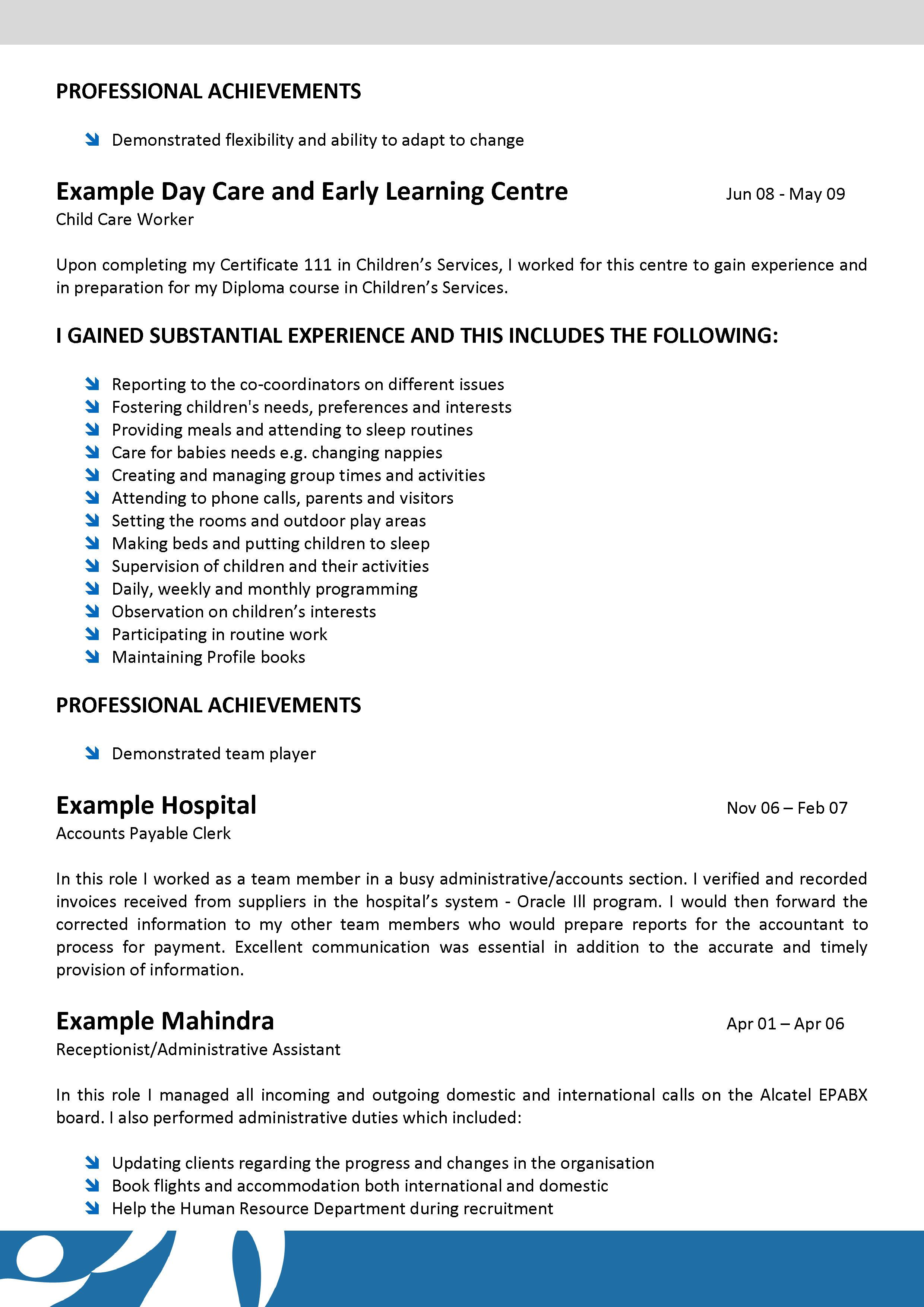 example resume child care best resume and all letter cv example resume child care child care provider resume samples livecareer we can help professional resume