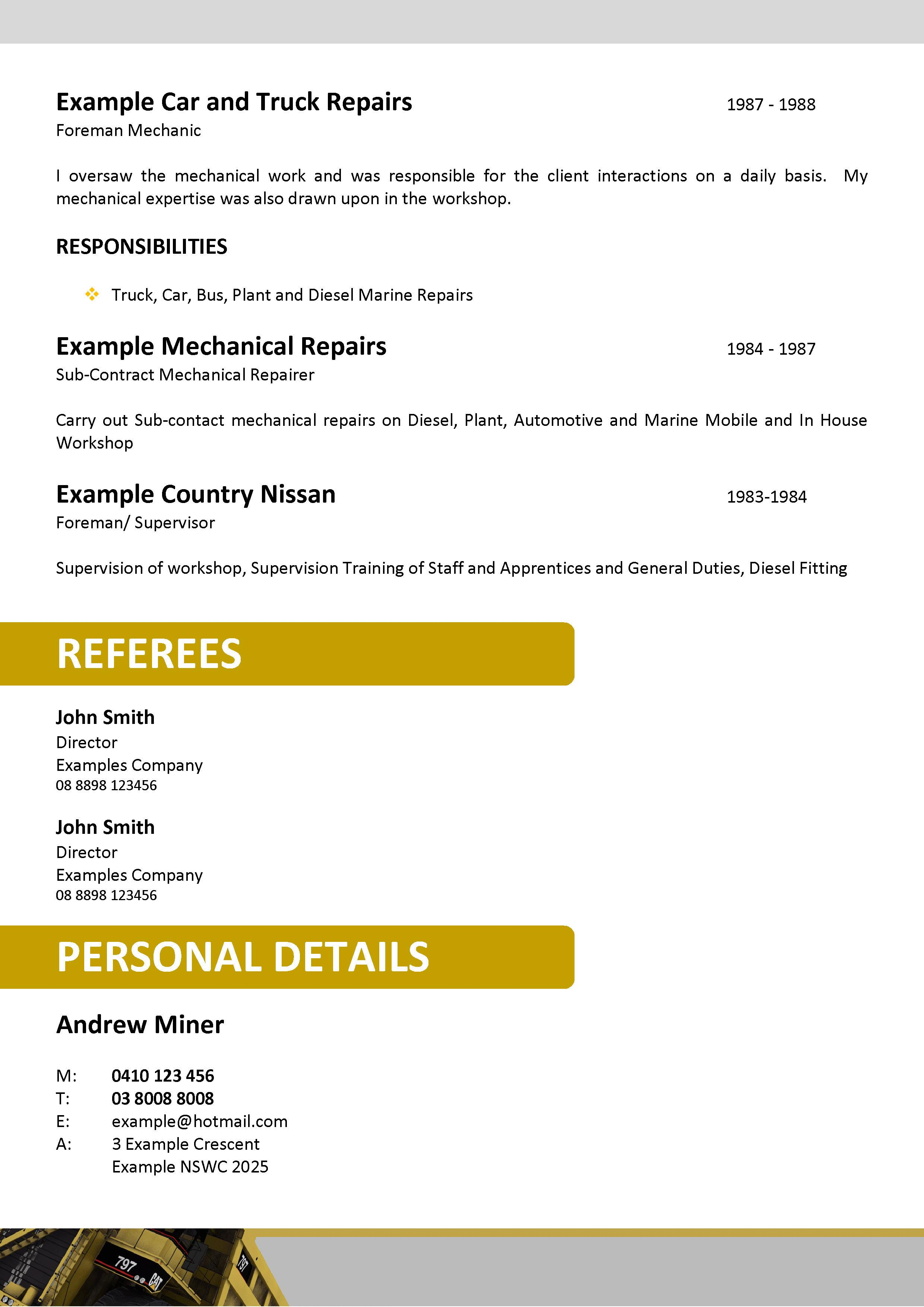 Resume Cover Letter Template Mining – Mining Resume Example