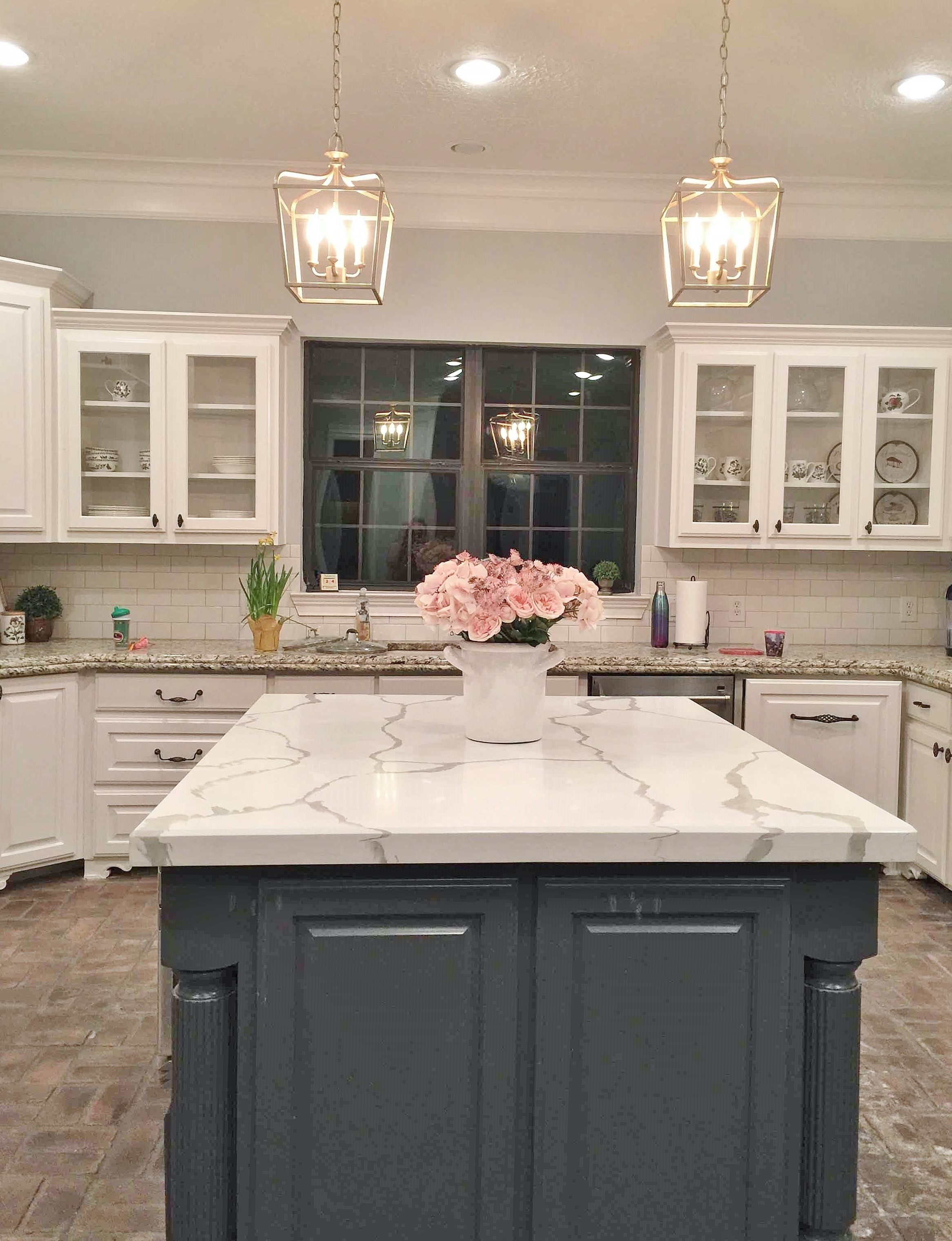 White Marble Island Before And After A Partial Kitchen Remodel Done W A Consultation