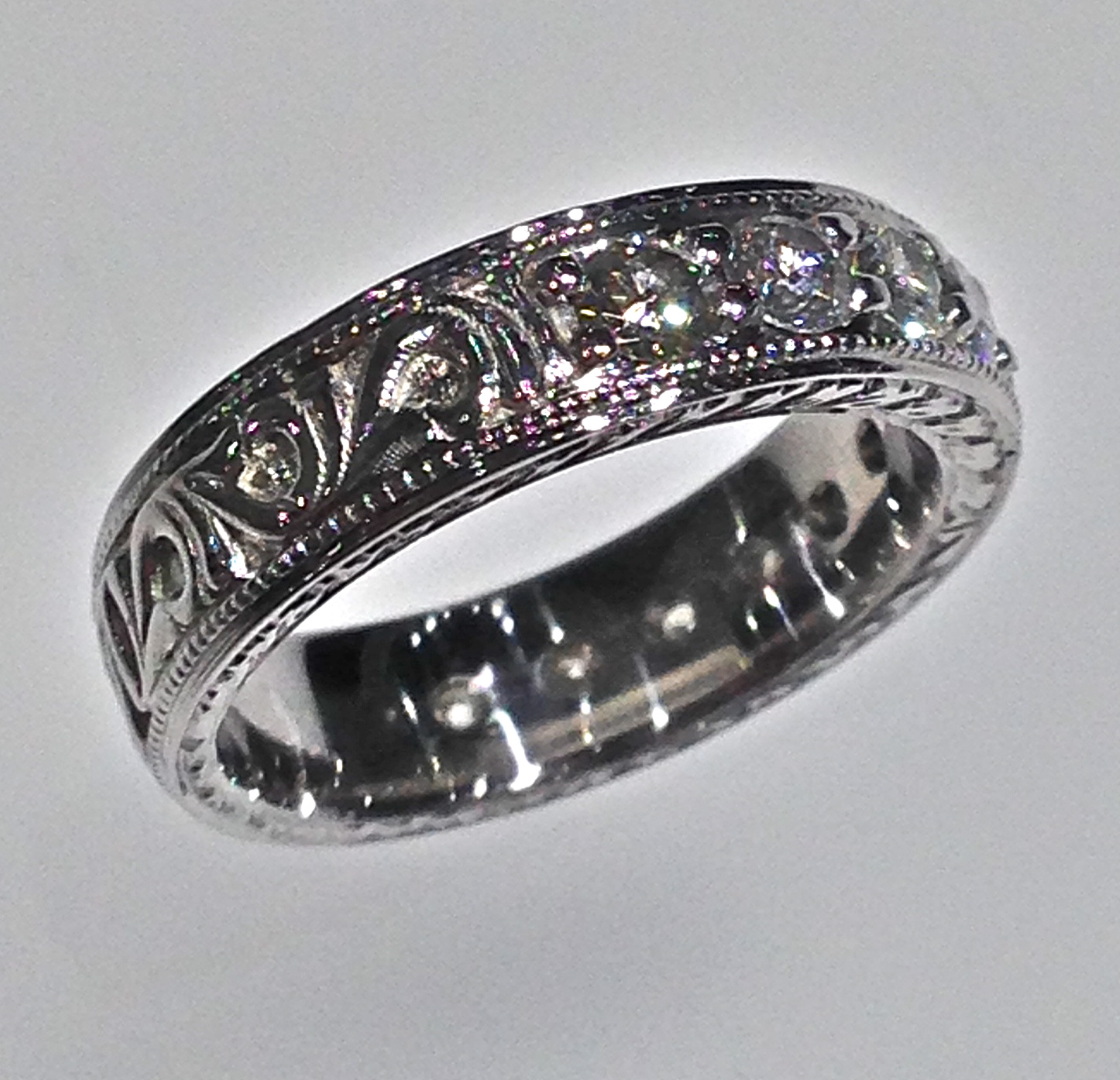 wedding bands vintage filigree wedding bands Craft Revival Jewelers diamond wedding band antique wedding band engraved band