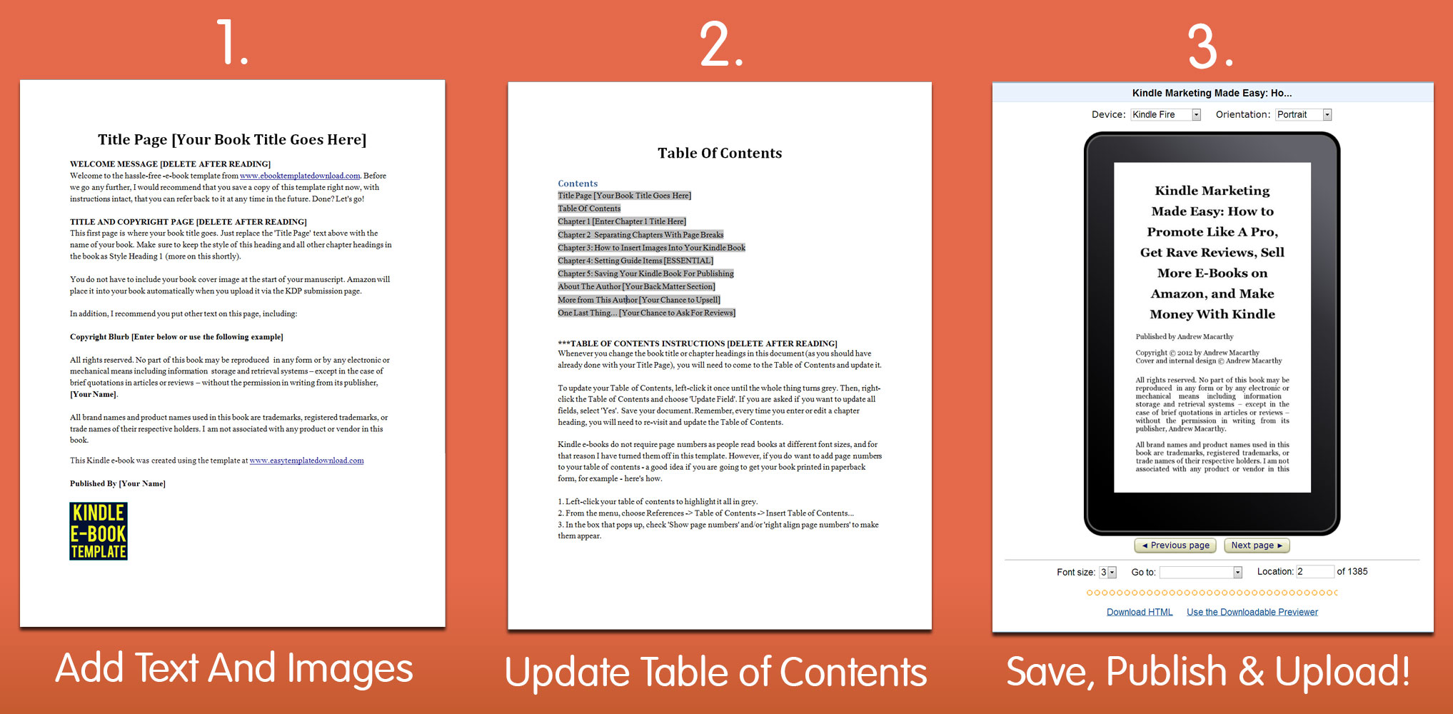 Download Kindle eBook Template For Microsoft Word Simple - microsoft word book template