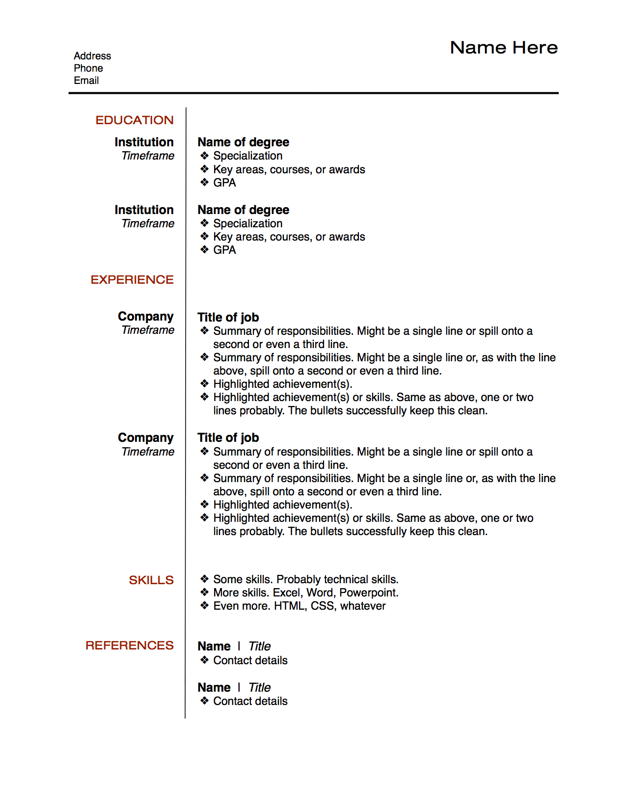 resume example for rj