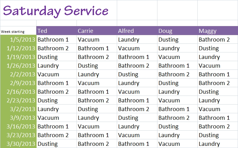 chore roster template - Intoanysearch