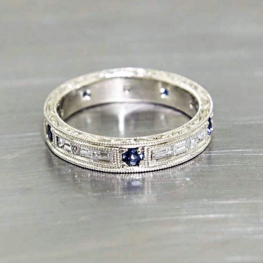 wedding bands sapphire mens wedding band Style Hand Engraved Sapphire Baguette Diamond Band in White Gold