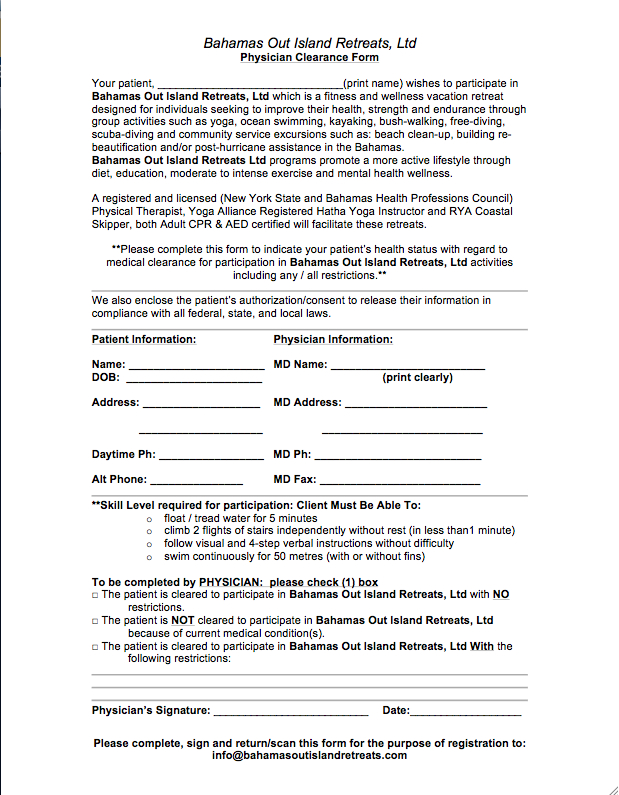 Physician Clearance Form \u2014 Bahamas Out Island Retreats - medical clearance forms