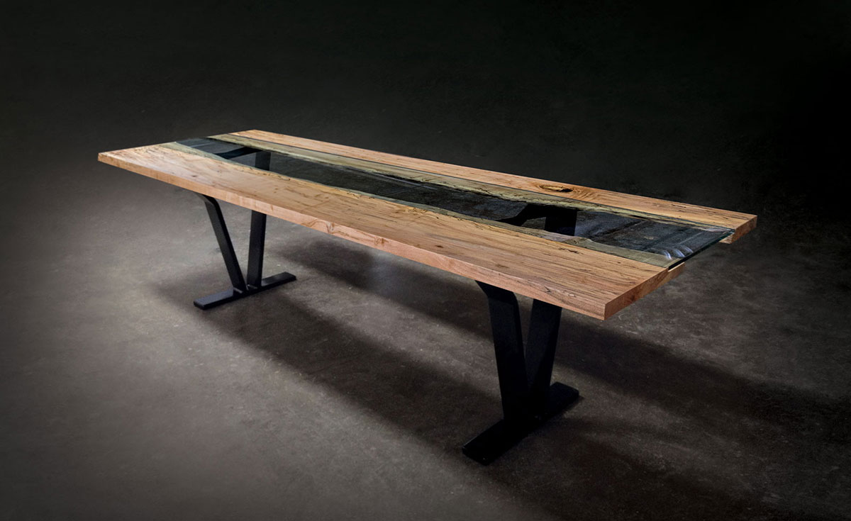 Colorado Live Edge Maple and Glass Dining Table u2014 SENTIENT - Made