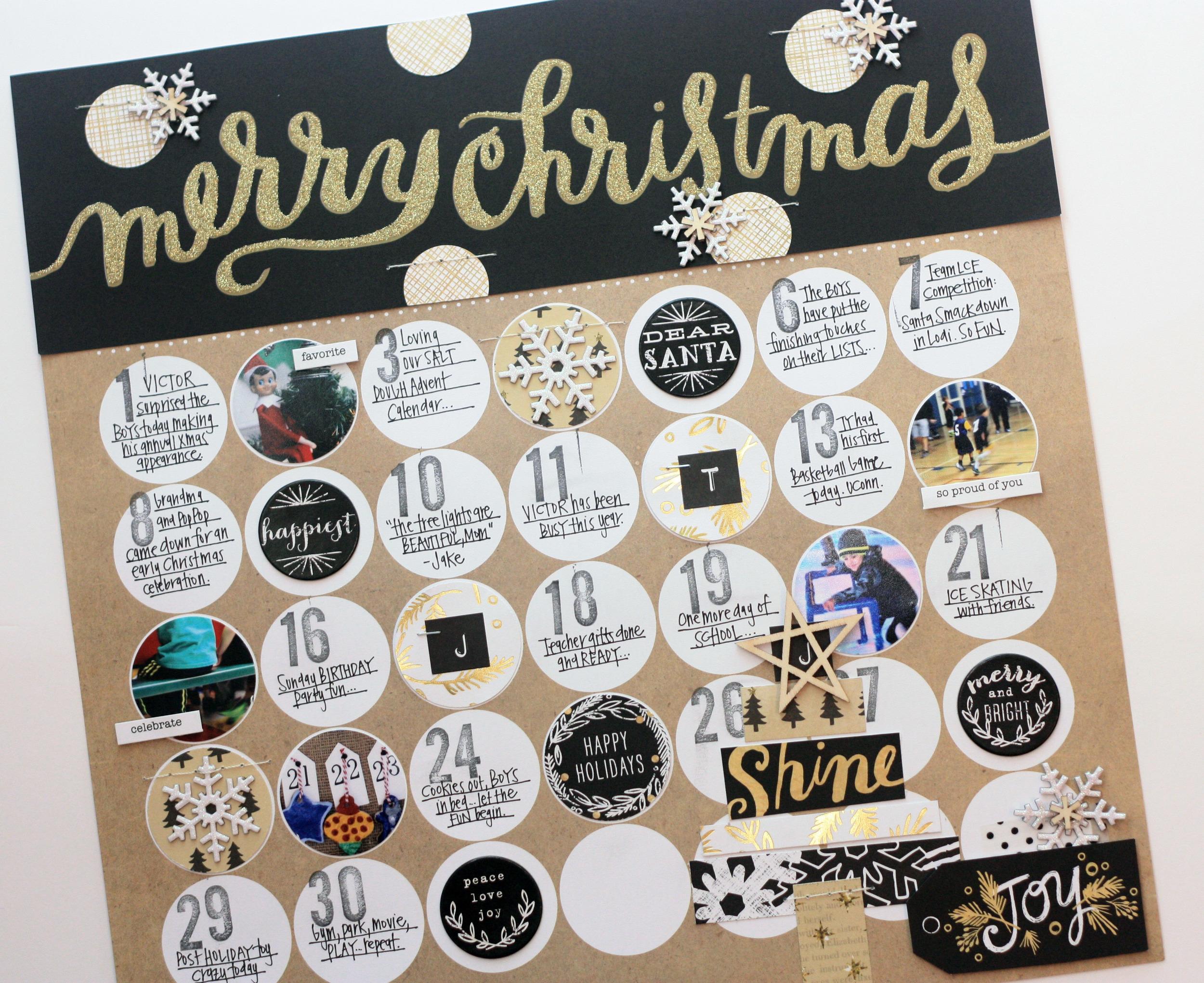 December calendar scrapbook layout by mambi design team member april orr me my big