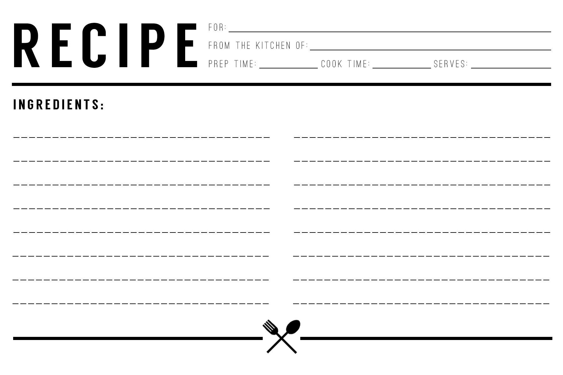 Recipe Card Download Evermore Paper Co - recipe card