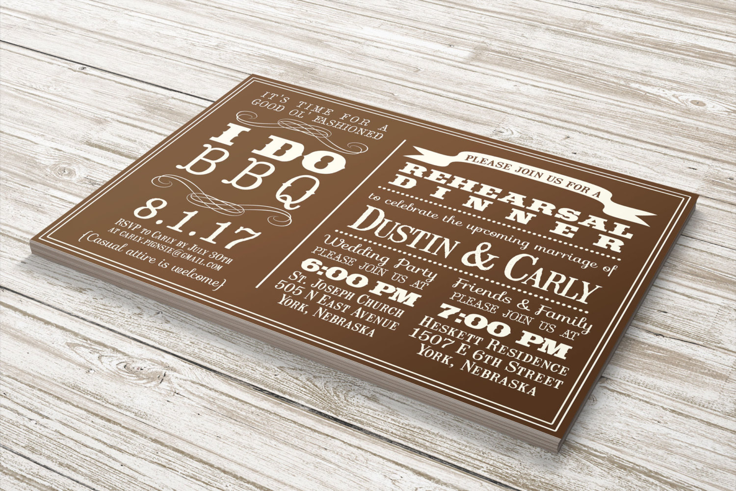 BBQ Barbecue Wedding Party Invitations