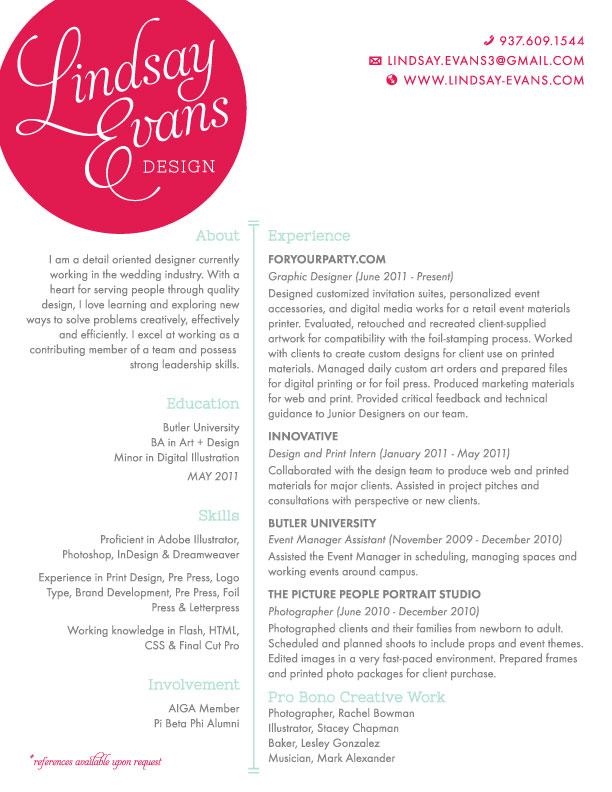 Resume \u2014 Lindsay Evans Design Custom Invitations, Event