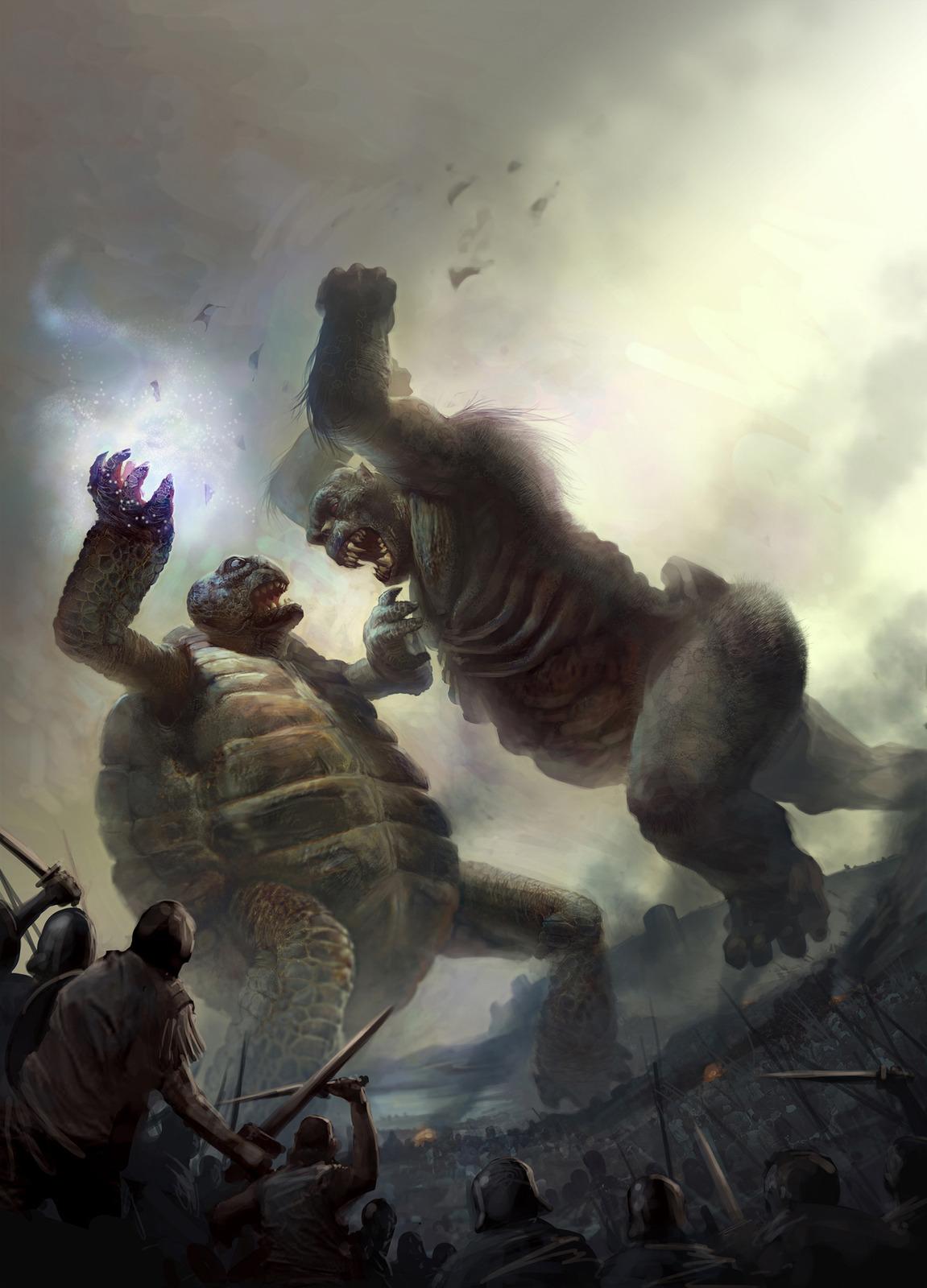 Ps3 Animated Wallpaper Giant Zombie Ape Battles Giant Tortoise In Geek Art