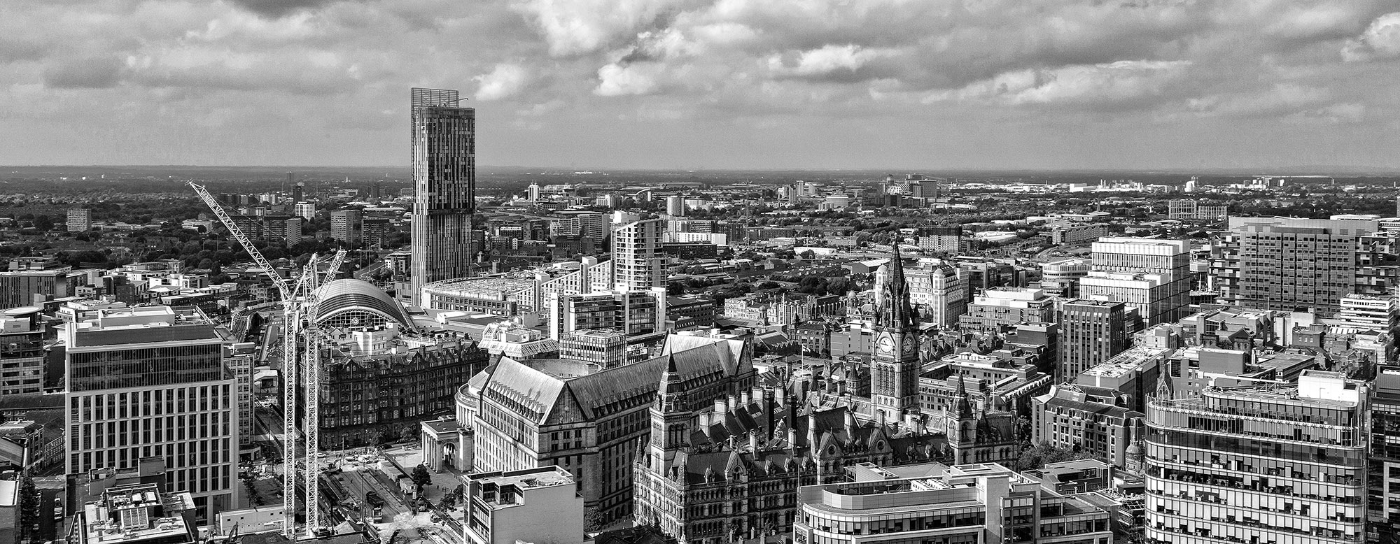 Black And White Canvas Pictures Manchester Black White Panoramic Skyline Canvas Print