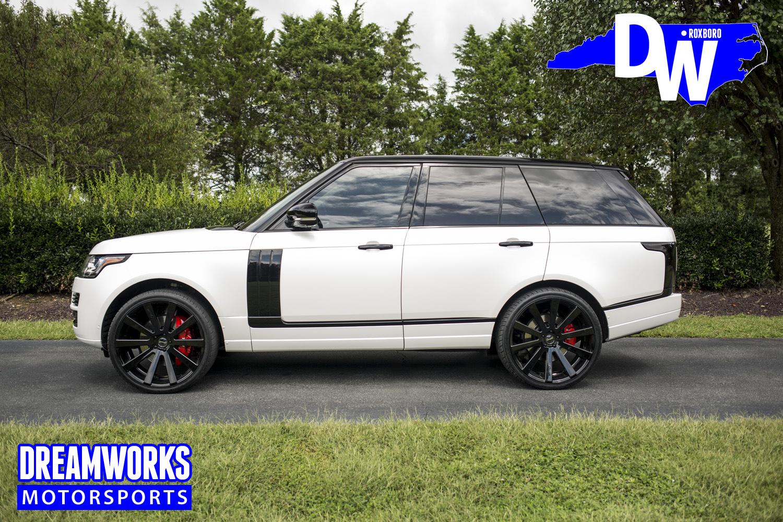 white range rover with custom wheels