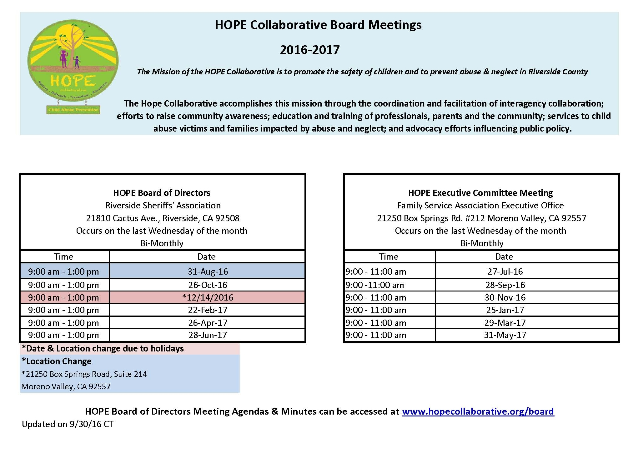 Board Meeting Agenda  Minutes \u2014 Hope Collaborative