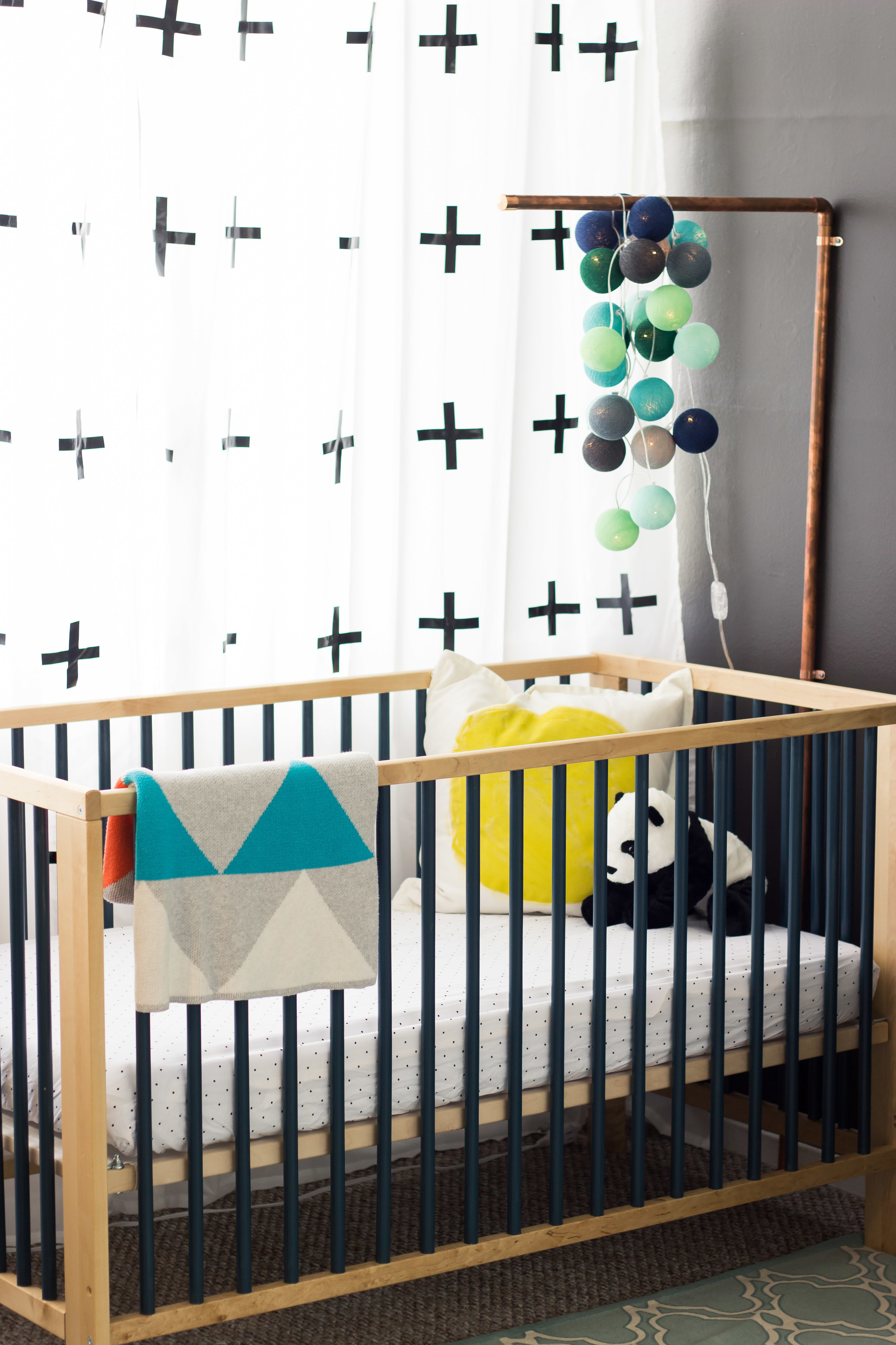I loved the look of cribs with painted slats only problem was those cribs were way out of my price range so i got the ikea gulliver crib in natural wood