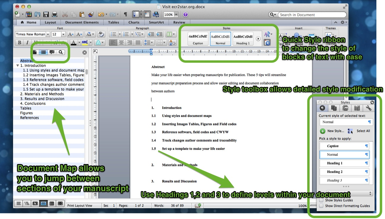 5 Tips for preparing scientific manuscripts in MS Word \u2014 ECR2STAR