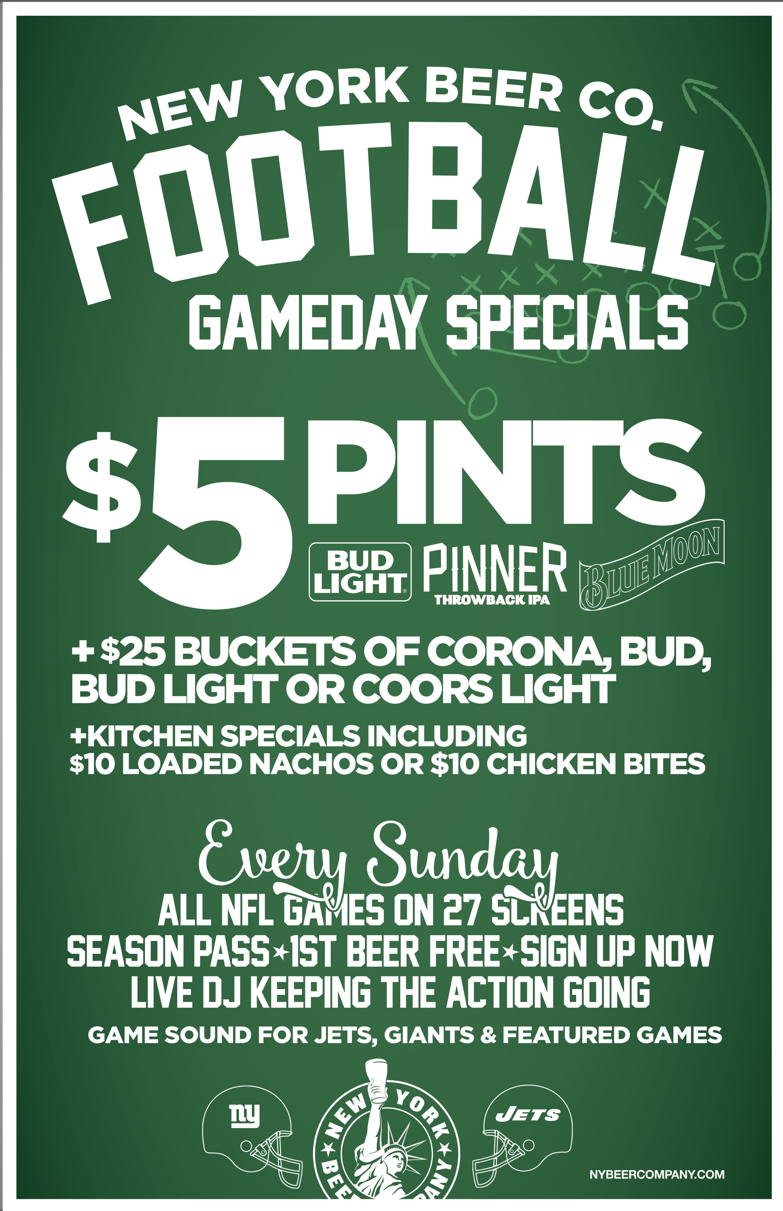 Beer Specials Nfl Sunday Football Gameday Week 7 New York Beer Company