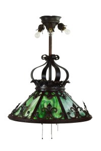 green slag glass iron chandelier architectural antiques