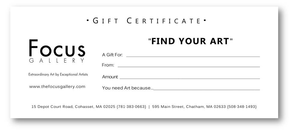 Gift Certificates / Wedding Registry \u2014 FOCUS Gallery