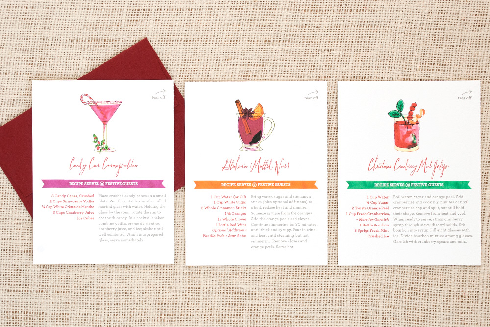 Holiday Cocktail Recipe Cards \u2014 Three Little Words