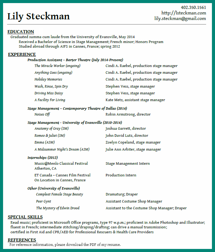 Example Of A Functional Resume The Balance Professional Stage Manager Resume