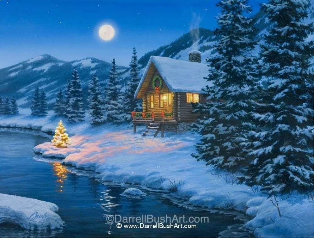 Thomas Kinkade Fall Wallpaper Christmas Cabin Darrell Bush Art
