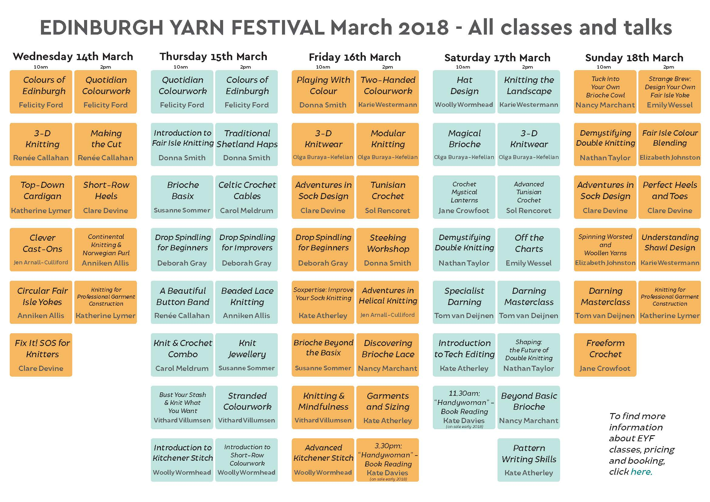 Class Timetable 2018 u2014 Edinburgh Yarn Festival - class timetable