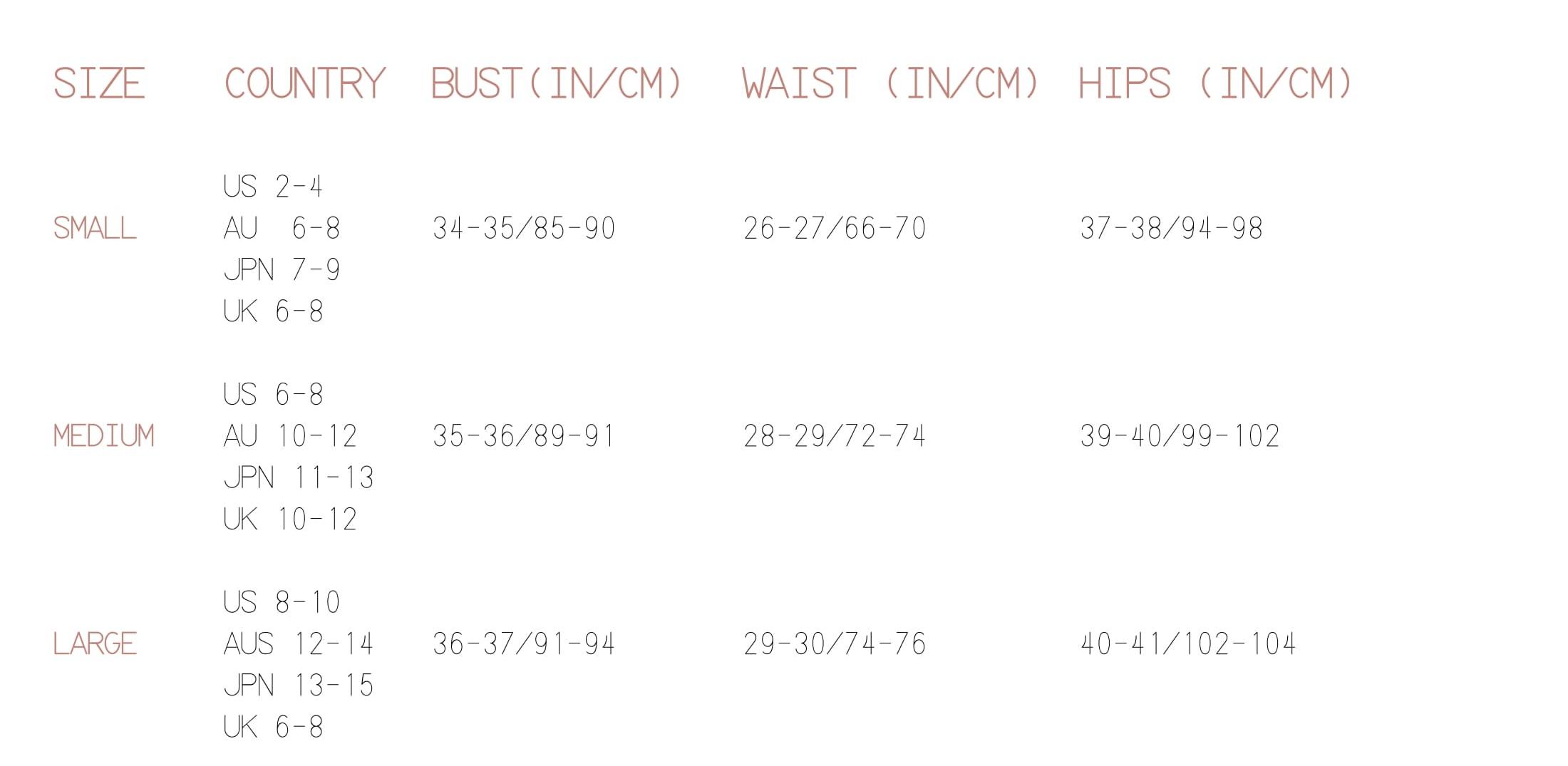 Size Chart towelbars
