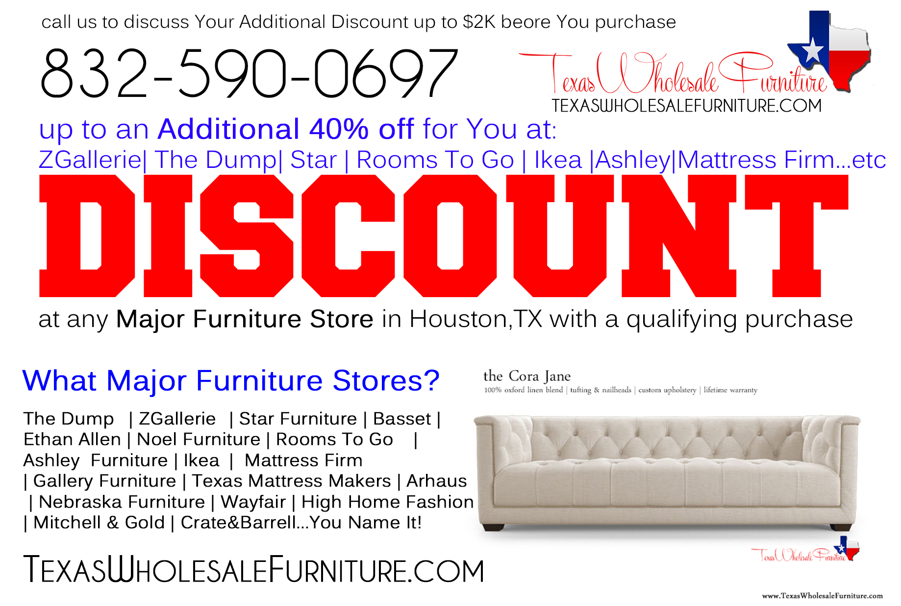Discount At Any Furniture Store In Houston Tx Texas Wholesale Furniture Co