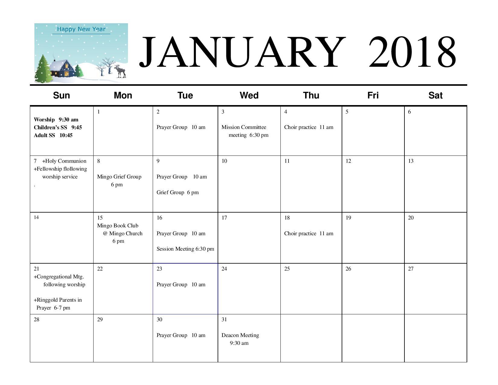 January Calendar \u2014 Mingo Creek Presbyterian Church ECO - january calendar page