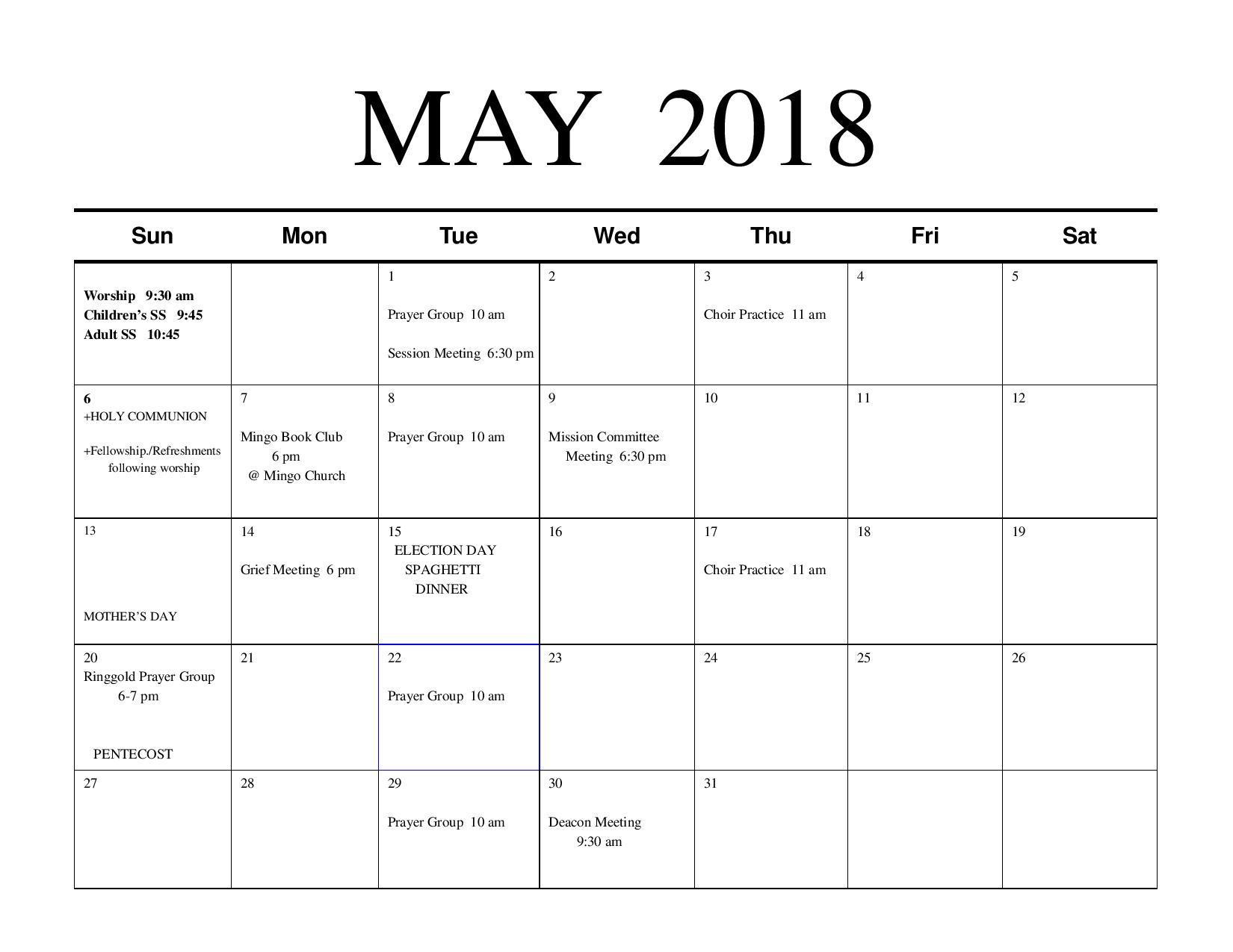 May Calendar \u2014 Mingo Creek Presbyterian Church ECO