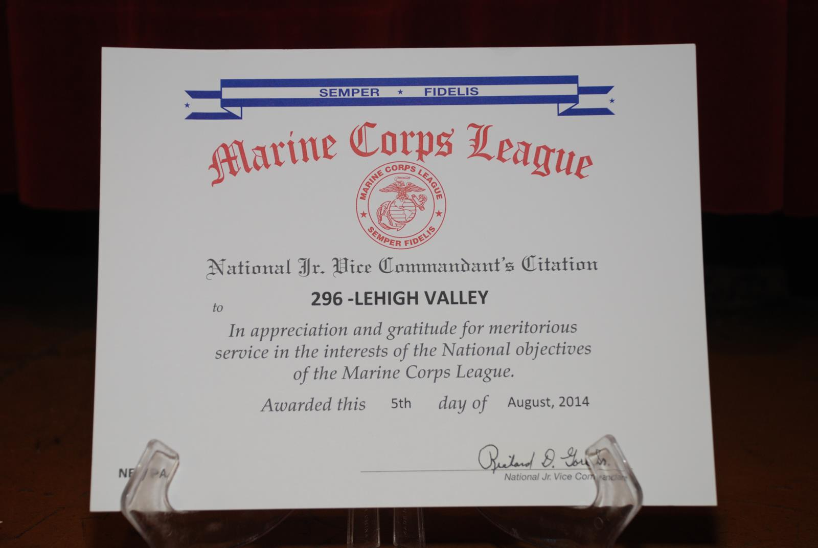 Free Resume Cover Letter » certificate of appreciation us marine
