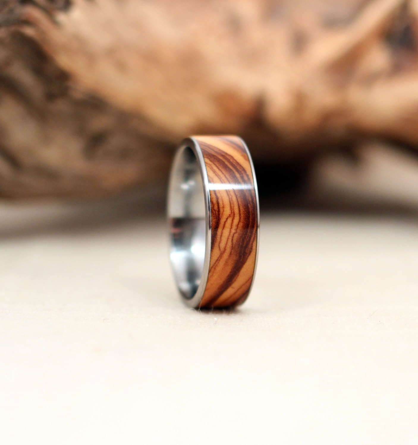 titanium and wood rings wooden wedding rings Bethlehem Olivewood Inlay Wooden Ring Lined With Titanium