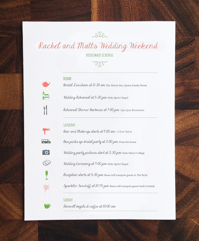 Wedding Schedule of Events \u2014 Rosebud Paper Paper Goods and