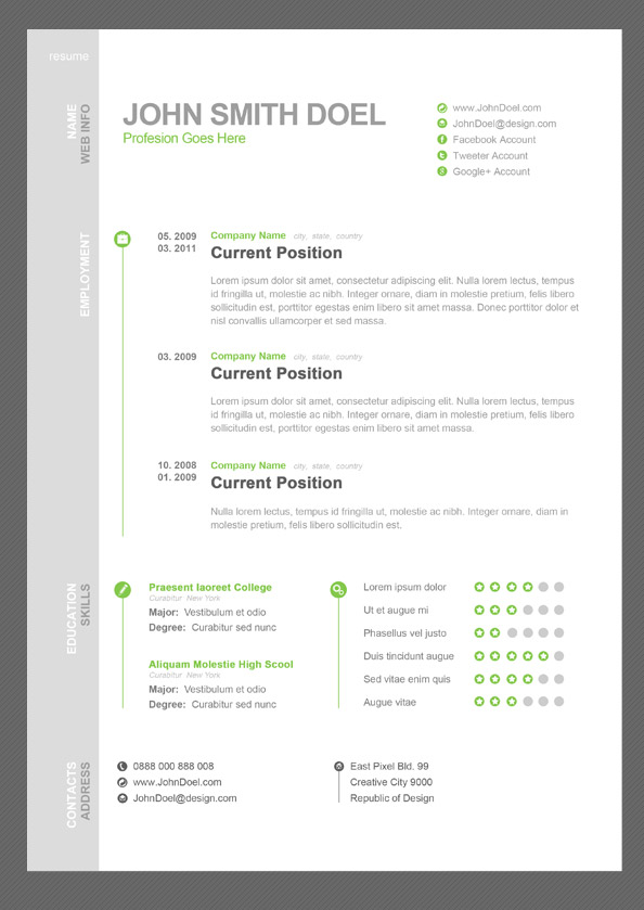 Free Creative Professional Photoshop Cv Template 11 Dazzling Creative Resume Templates