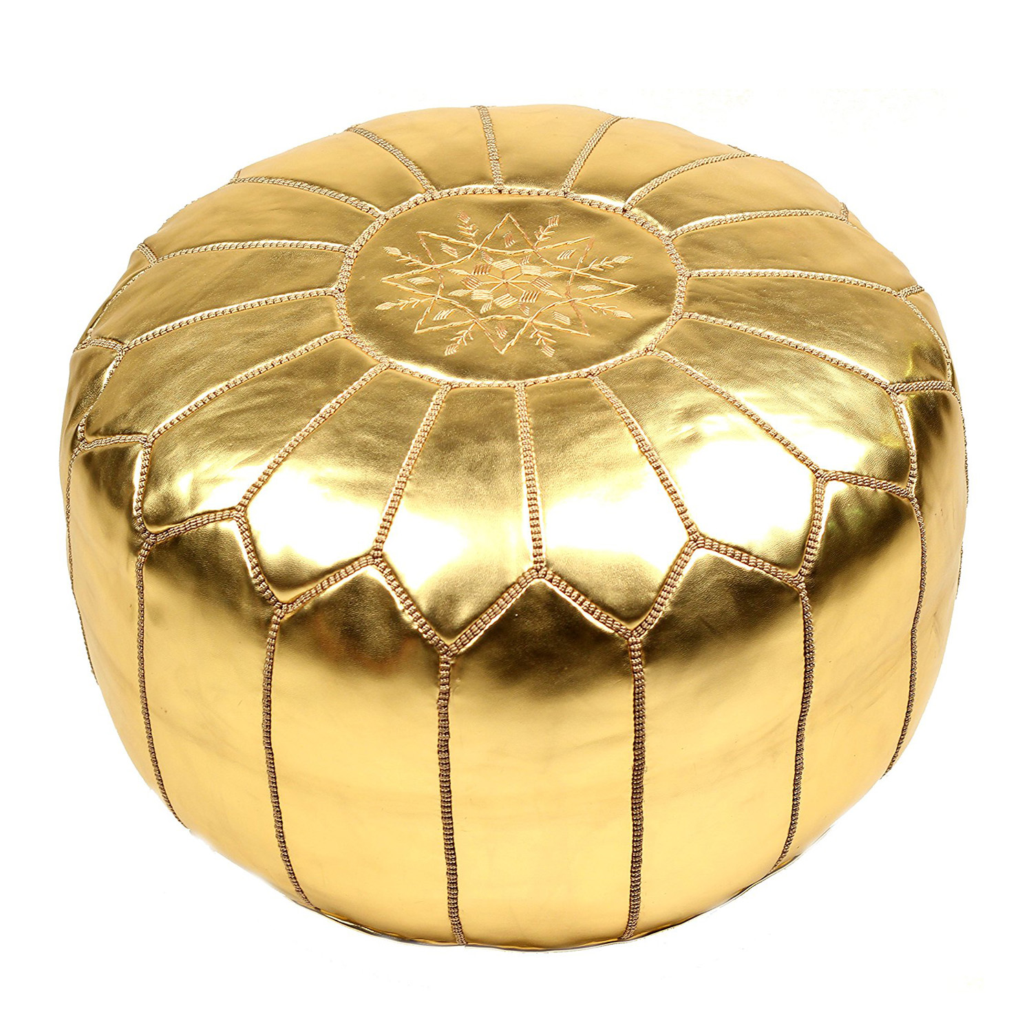Pouf Vintage Gold Leather Moroccan Pouf