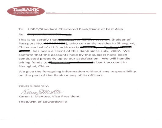 Opening Your China WFOE- Bank Reference Letter \u2014 Yu-link Space - standard reference letter