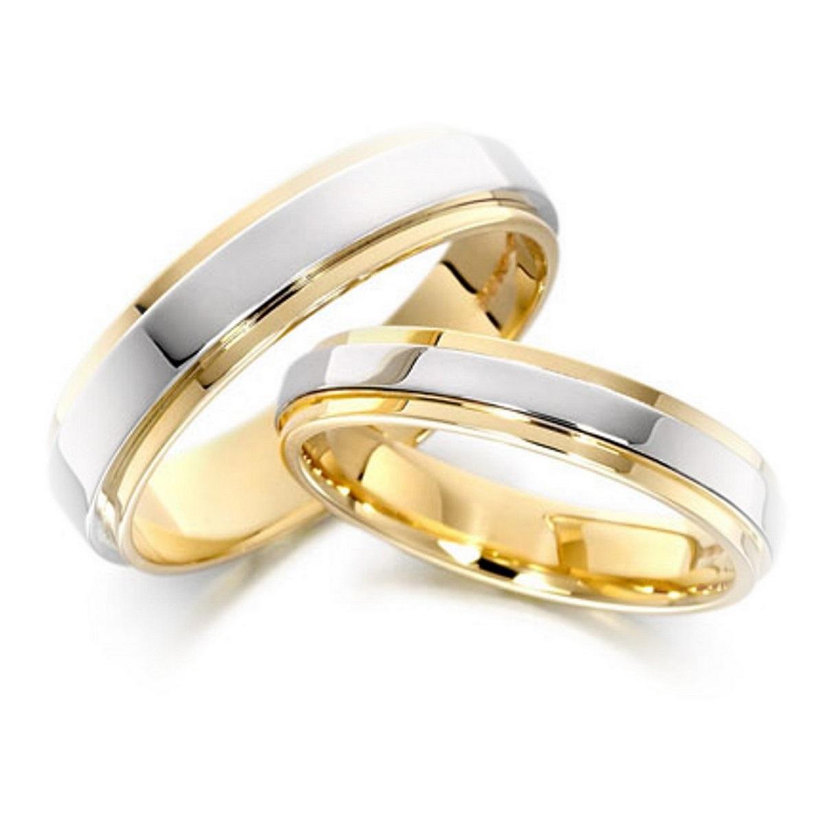 wedding gold wedding bands Matching gold wedding bands with white gold polished raised center