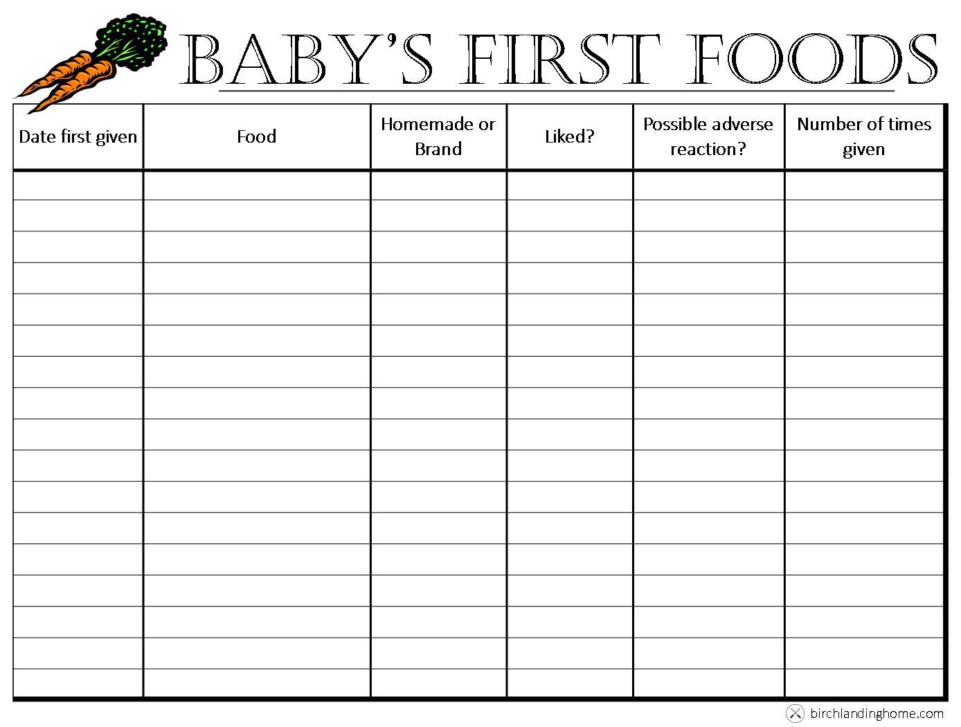 Baby\u0027s First Foods The Basics {Free Printable Chart} \u2014Blog - Birch