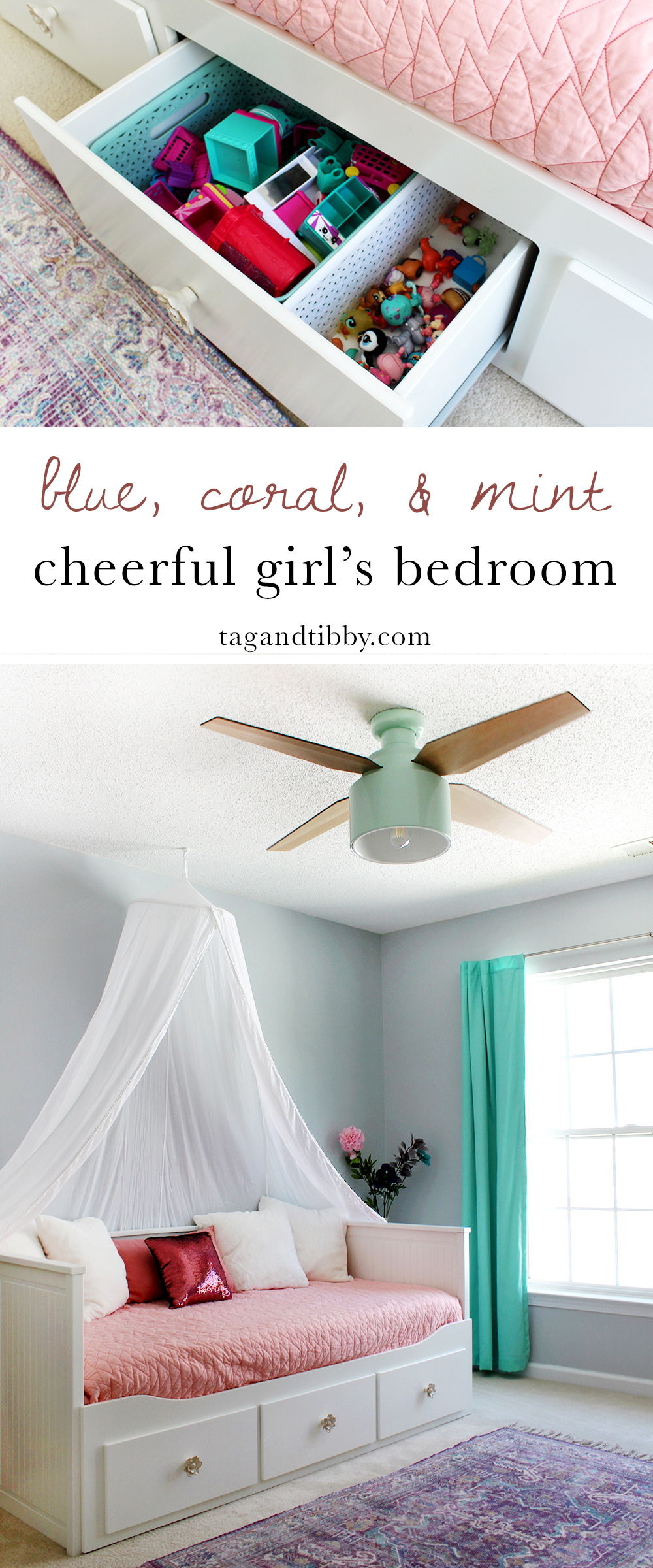 Ceiling Fan Girls Room A Colorful Tween Girl S Bedroom Makeover Tag Tibby