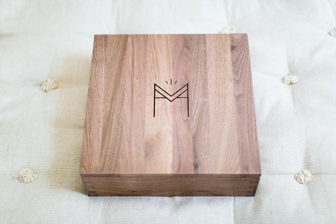 The Leather Wedding Album  Engraved Presentation Walnut Box